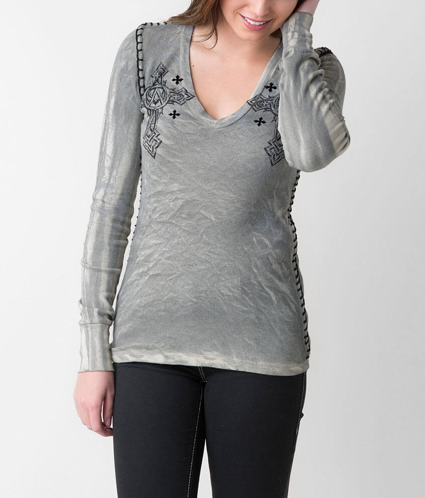 Affliction Spiker Stone Thermal Top front view