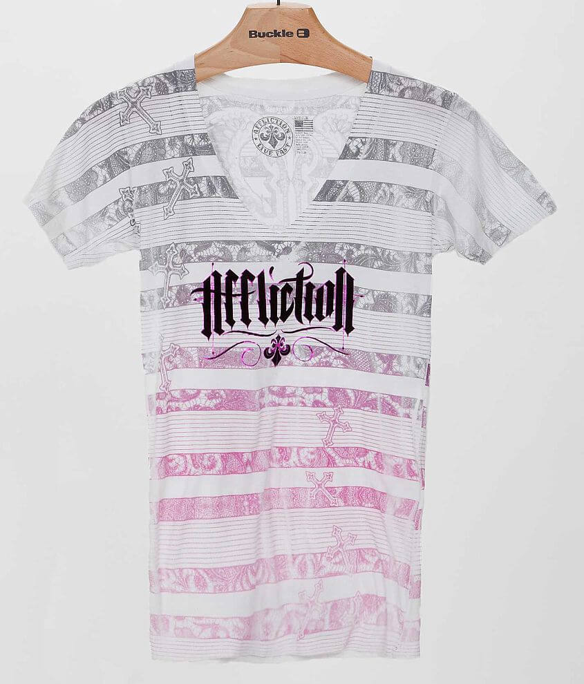 Affliction Sacred Striped T-Shirt front view