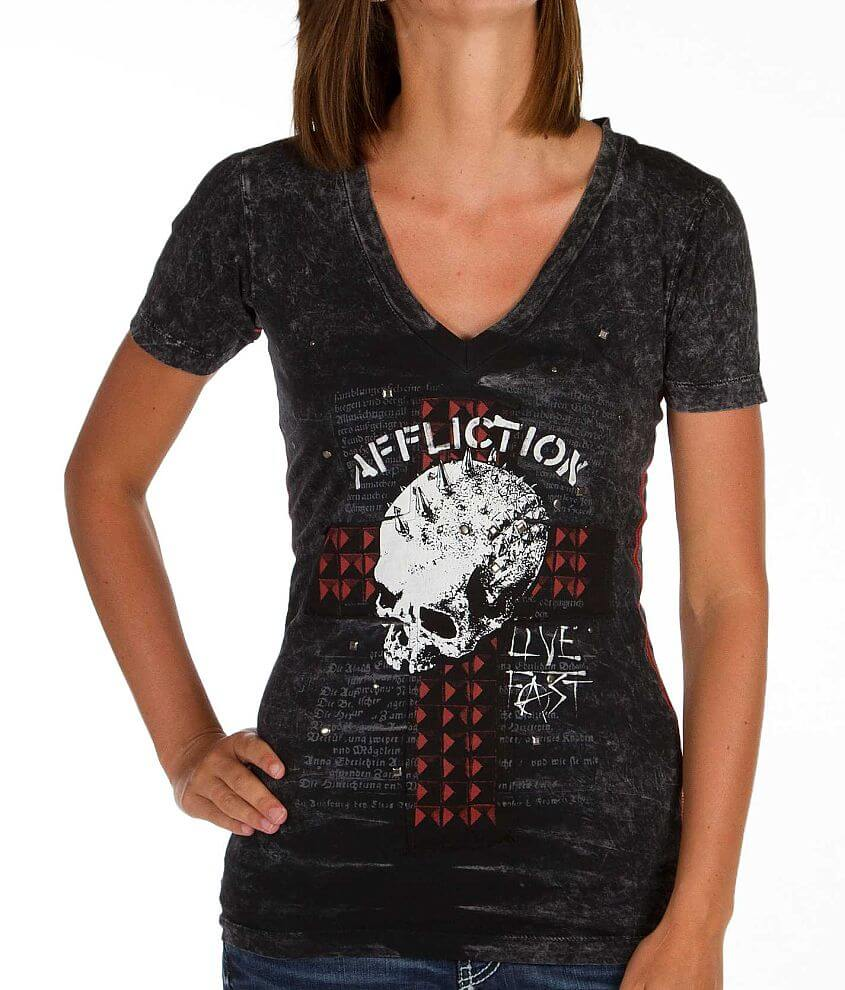Affliction Whiskey Glitter T-Shirt front view