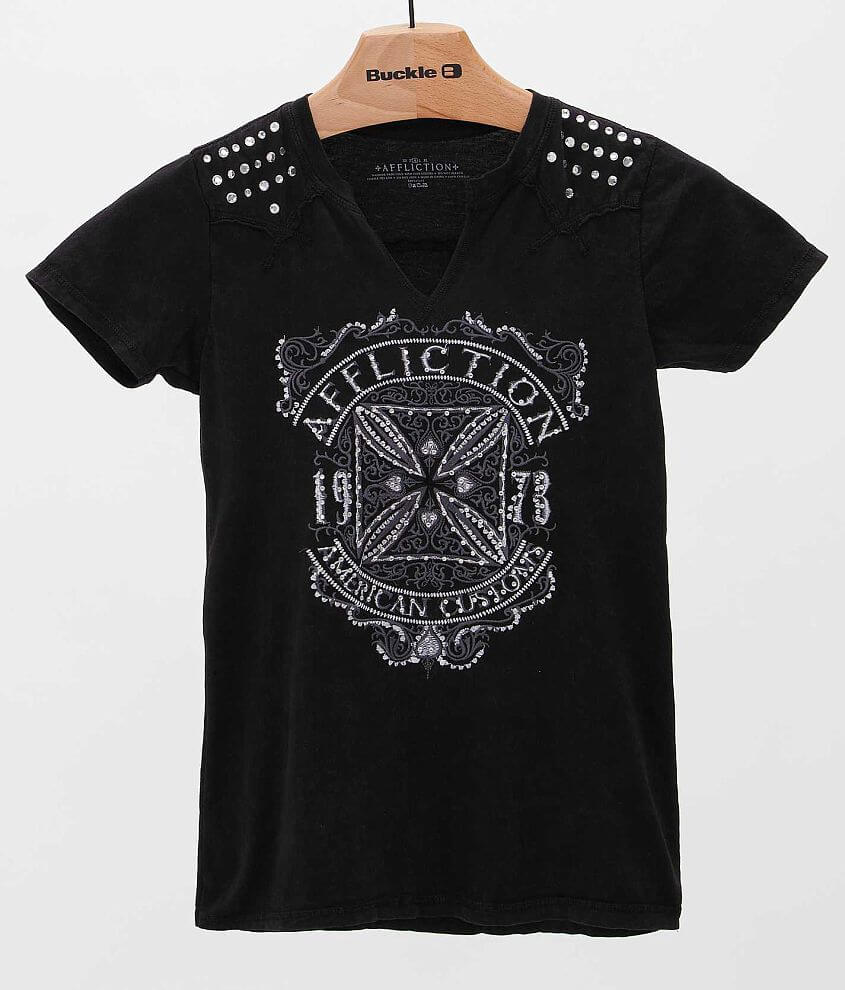 Affliction American Customs Death Cross T-Shirt front view