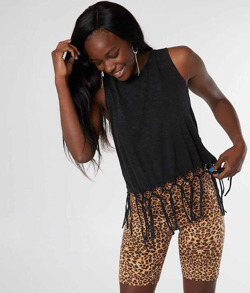 Gilded Intent Cropped Fringe Tank Top front view