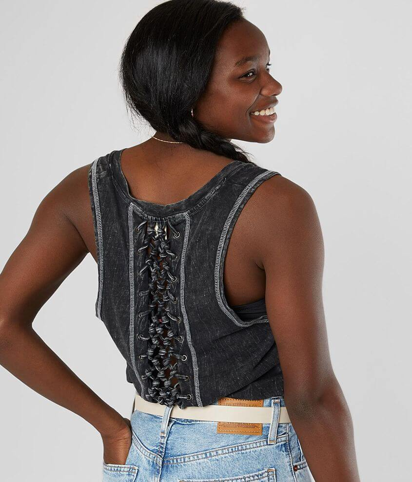 Gilded Intent Lava Washed Split Neck Tank Top front view
