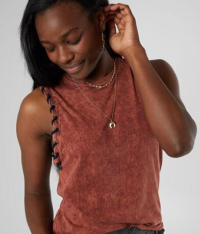 Gilded Intent Lava Washed Raw Edge Tank Top