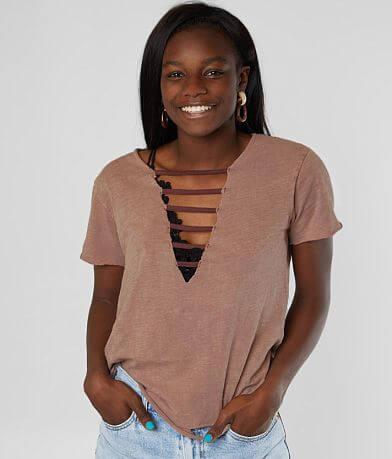 Gilded Intent Strappy Slub Knit T-Shirt