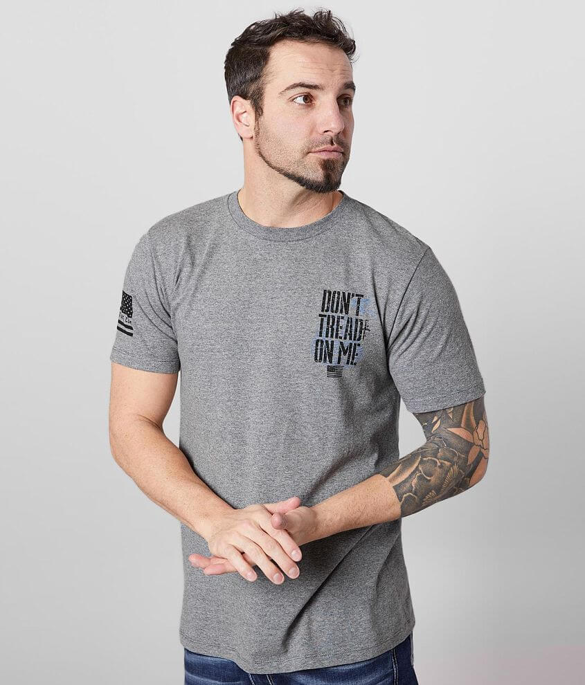 Distressed graphic heathered t-shirt Sleeve hit 5% of Howitzer\\\'s proceeds from the sale of this garment goes to benefit the heroes that sacrifice to protect us Model Info: Height: 5\\\'11\\\