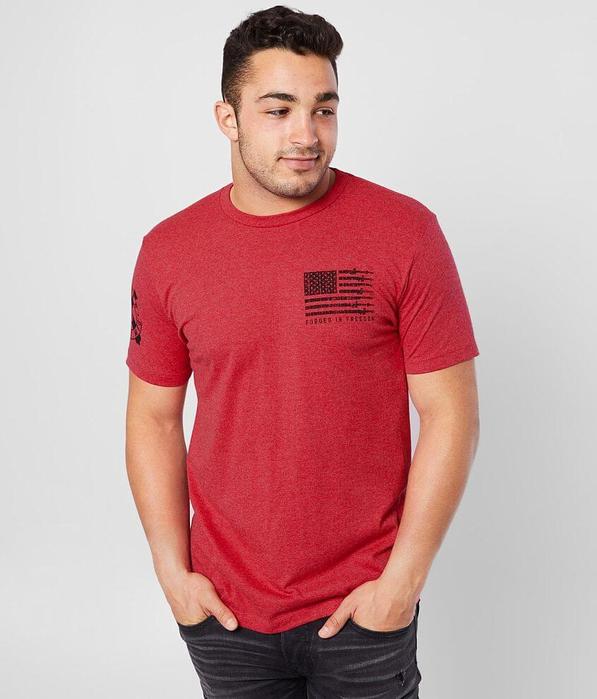 Distressed flag graphic heathered t-shirt Sleeve hit 5% of Howitzer\\\'s proceeds from the sale of this garment goes to benefit the heroes that sacrifice to protect us Model Info: Height: 5\\\'10\\\