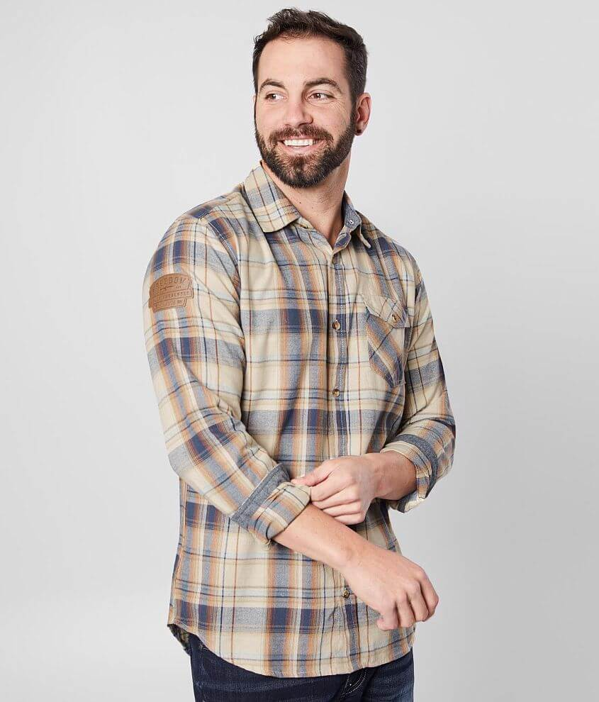 Brushed plaid button front shirt Embroidered patch sleeve hit Contrast trim 5% of Howitzer\\\'s proceeds from the sale of this garment goes to benefit the heroes that sacrifice to protect us Model Info: Height: 5\\\'11\\\