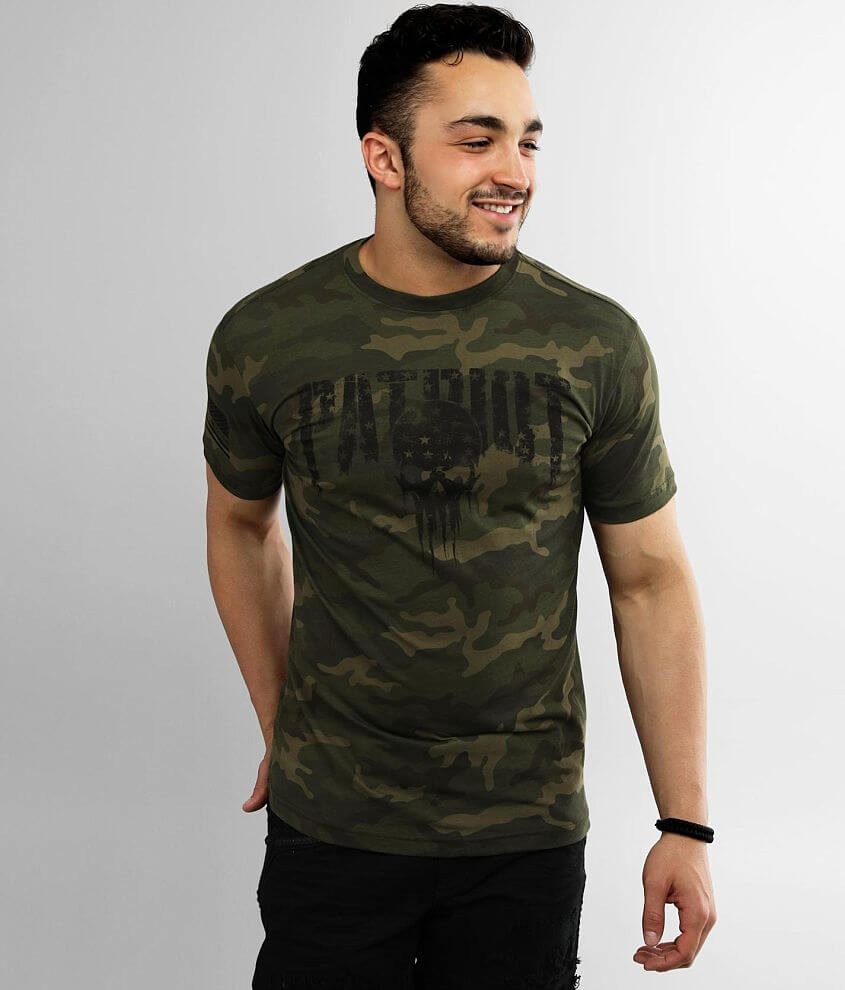 Distressed graphic camo t-shirt Sleeve hit 5% of Howitzer\\\'s proceeds from the sale of this garment goes to benefit the heroes that sacrifice to protect us Model Info: Height: 5\\\'10\\\