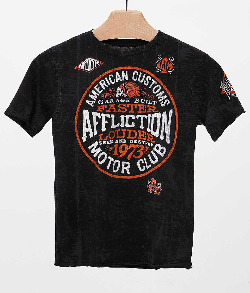 Boys - Affliction American Customs Petrol T-Shirt front view