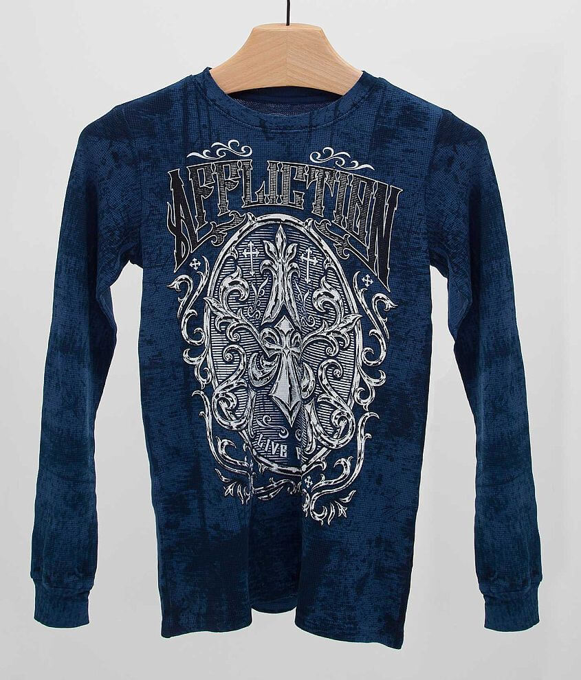 Boys - Affliction Abrasive Thermal Shirt front view