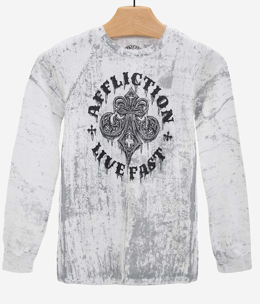 Boys - Affliction Royale Rust Thermal Shirt front view