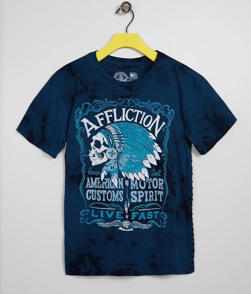 American Customs Series Graphic washed t-shirt Straight whipstitch yarn accents