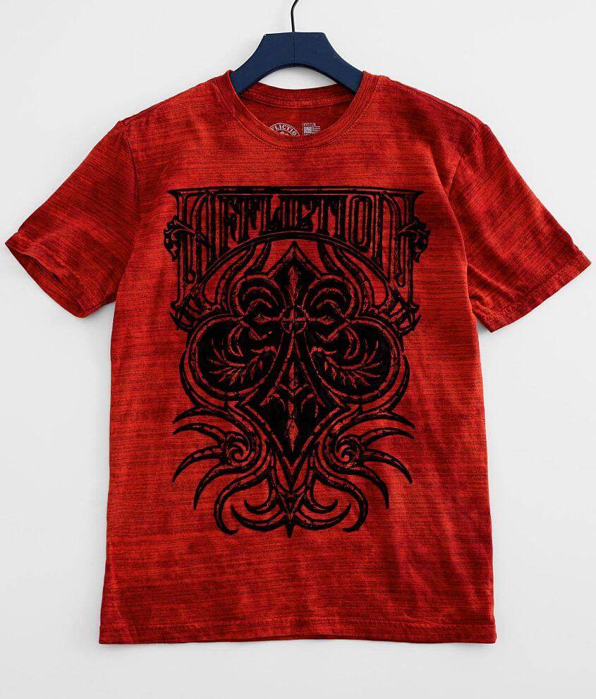 Flocked graphic washed t-shirt