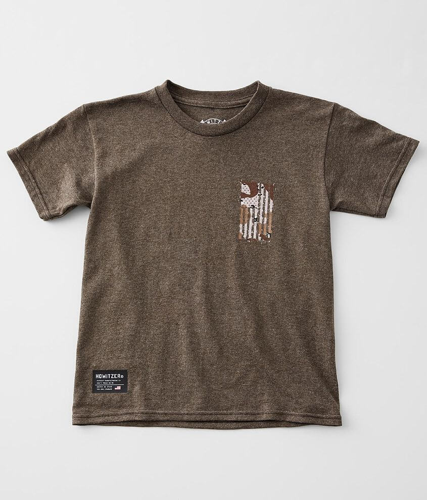 Boys - Howitzer Camo Flag T-Shirt front view