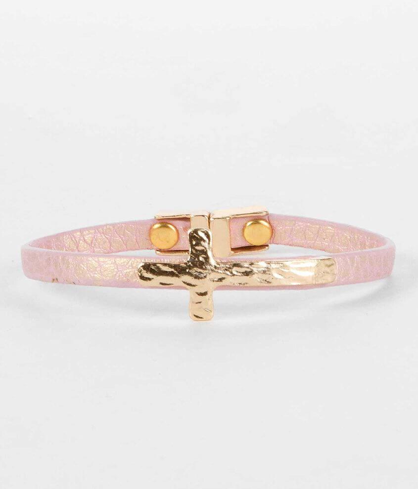 BKE Embossed Cross Bracelet front view
