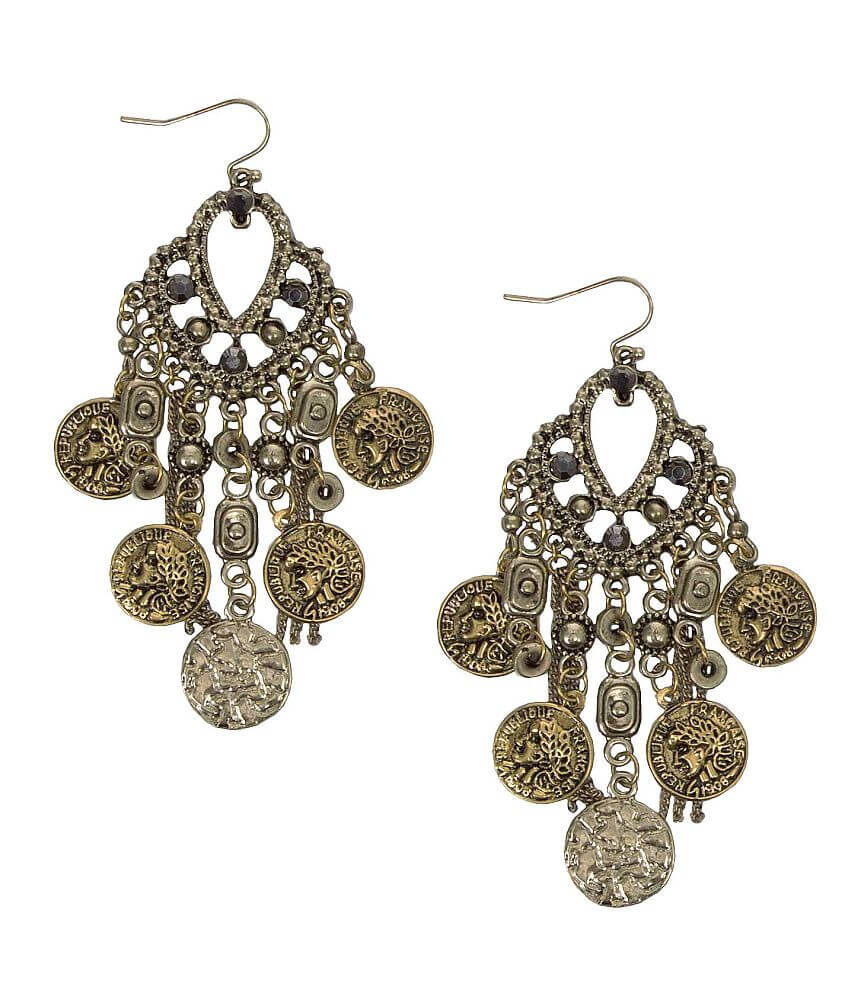 Festive Coin Chandelier Earring front view