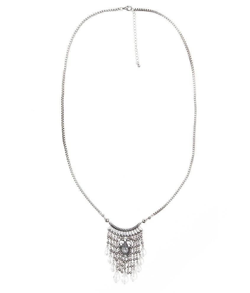 BKE Beaded Fringe Necklace front view