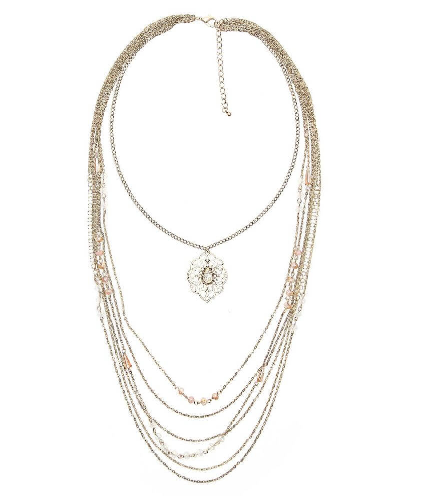 BKE Bead & Rhinestone Necklace front view