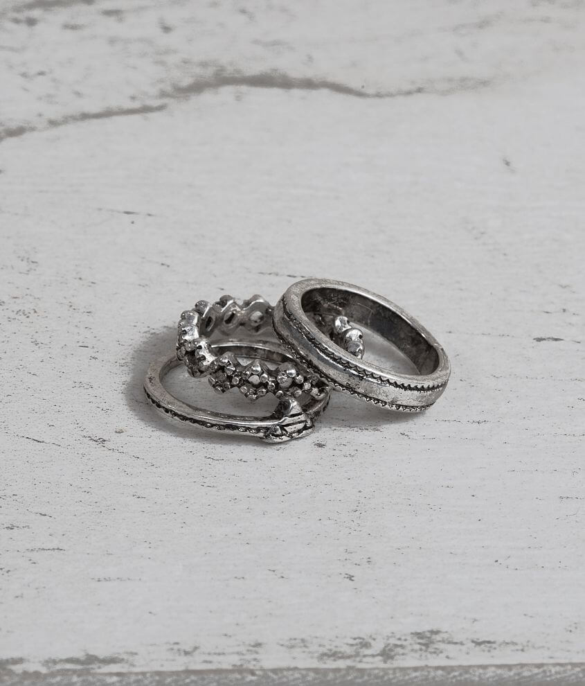 Festive Engraved Midi Ring Set front view