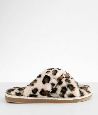 Cozzy Girl Furry Open Toe Leopard Slipper