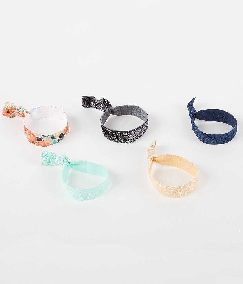 Daytrip Glitter and Floral Hair Tie Set front view