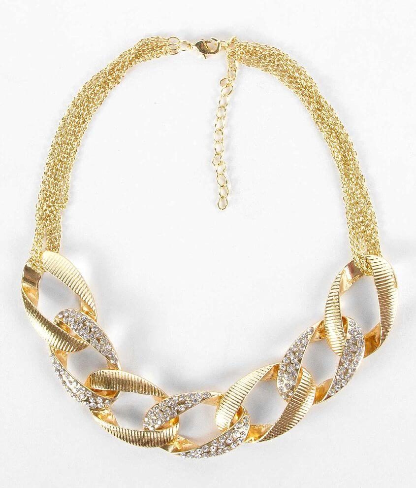 BKE Textured Link Necklace front view