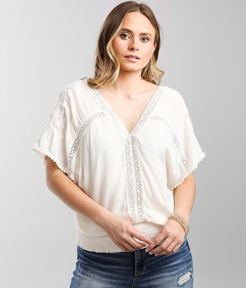 Daytrip Crochet Inset Dolman Crinkle Top front view