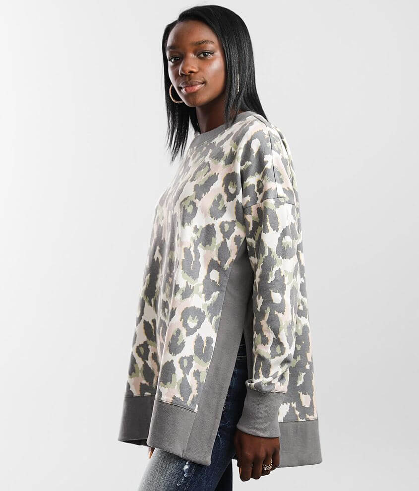 BKE Animal Print Pullover front view