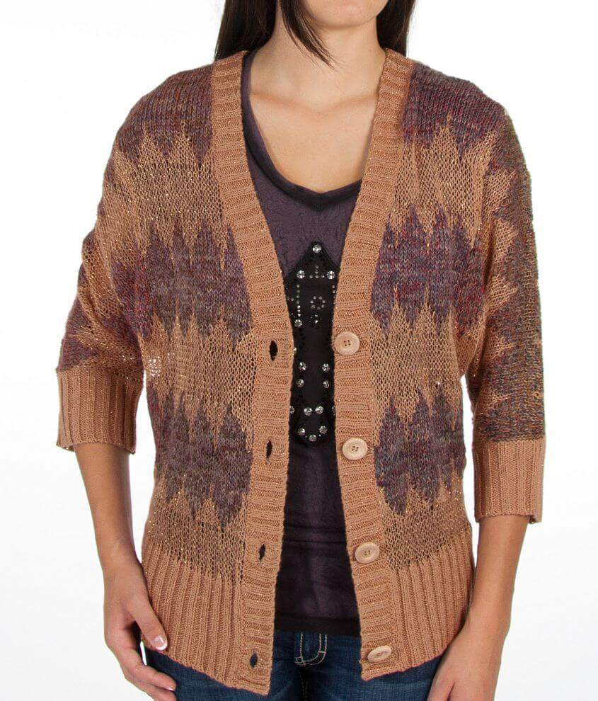 BKE Diamond Pattern Cardigan Sweater front view