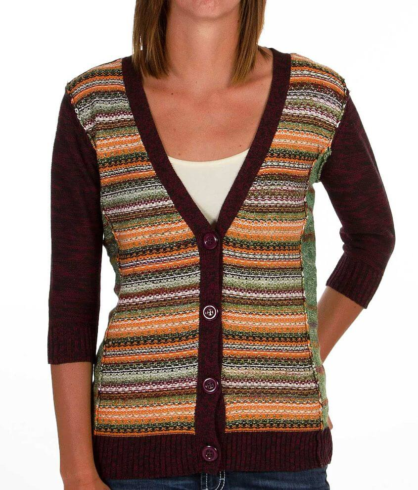 BKE Pointelle Cardigan Sweater front view