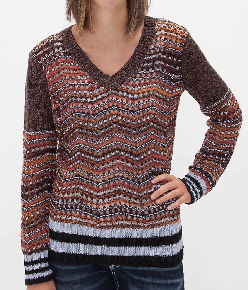 BKE Open Weave Sweater front view