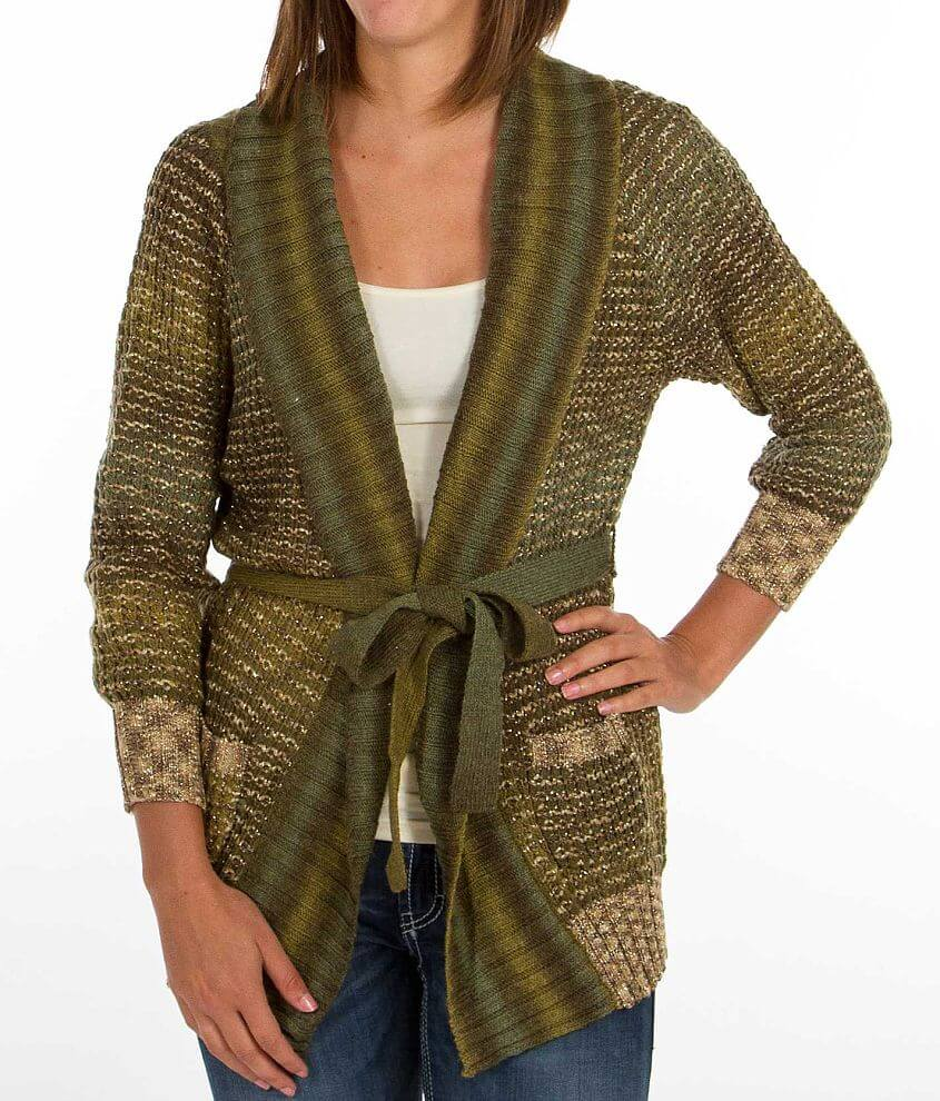 BKE Metallic Thread Cardigan Sweater front view