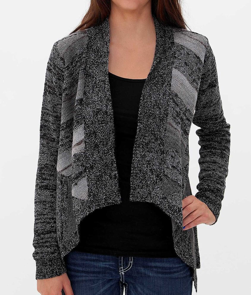 BKE Striped Cardigan Sweater front view