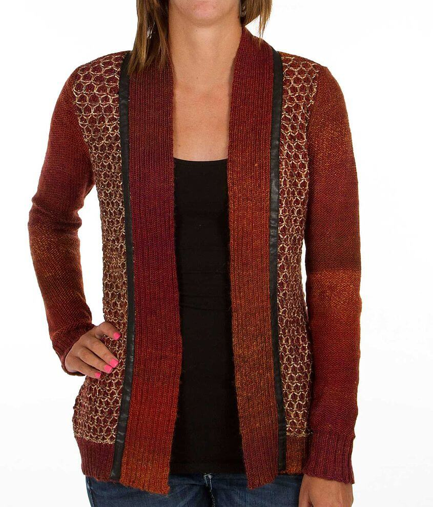 BKE Basket Weave Cardigan Sweater front view