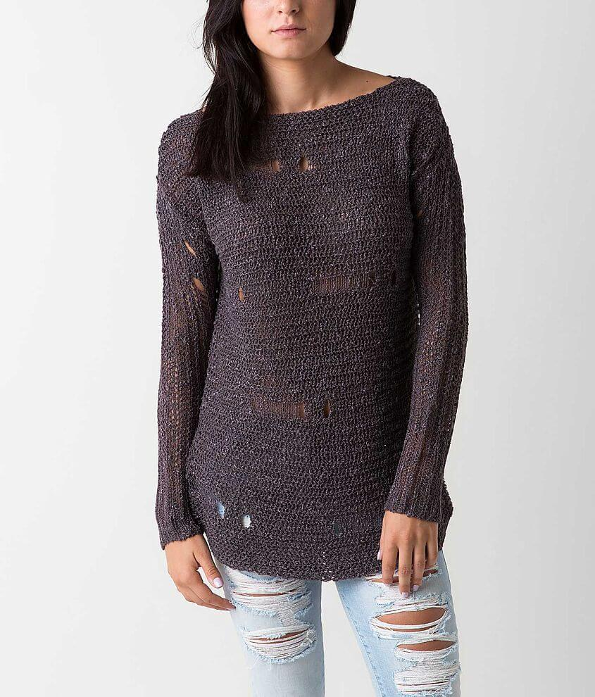 red by BKE Open Weave Sweater front view