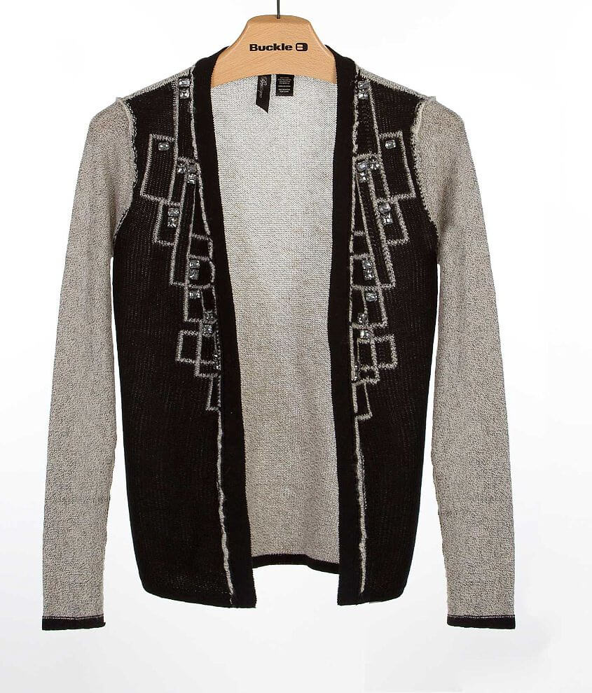 BKE Boutique Pieced Cardigan Sweater front view