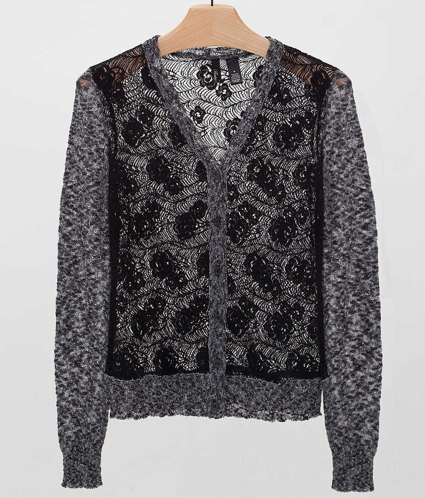 BKE Boutique Pieced Lace Cardigan Sweater front view