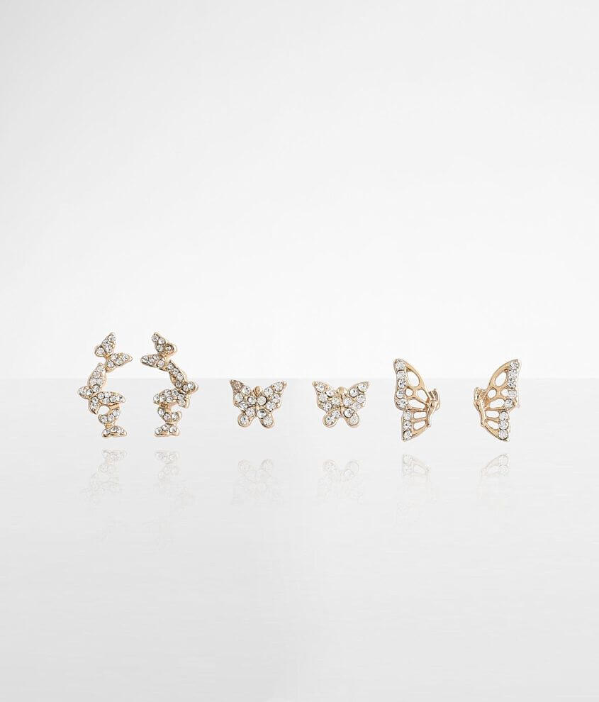BKE 3 Pack Butterfly Earring Set front view