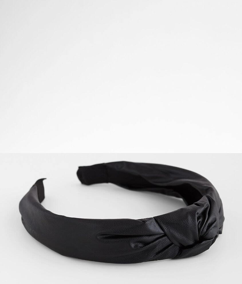 BKE Faux Leather Knotted Headband front view