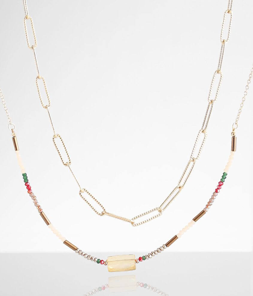 BKE 2 Pack Paperclip Necklace Set front view