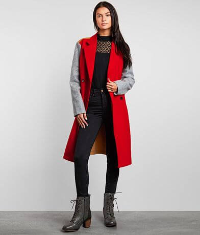 Buckle Black Color Block Trench Coat