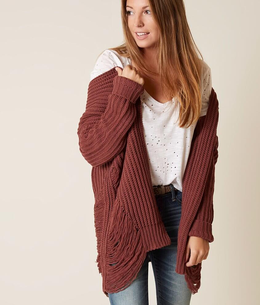 Daytrip Shredded Cardigan Sweater - Women's Sweaters in Burgundy ...