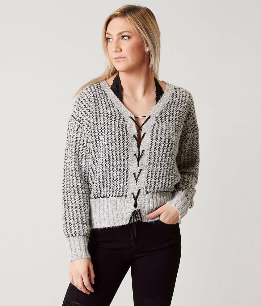 fbb31b377f4aa8 Daytrip Lace-Up Sweater - Women's Sweaters in Black Grey   Buckle