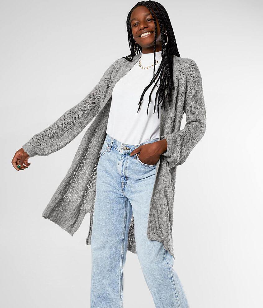 Lightweight open weave cardigan sweater Body length 31\\\