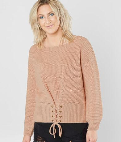 Daytrip Corset Lace-Up Sweater