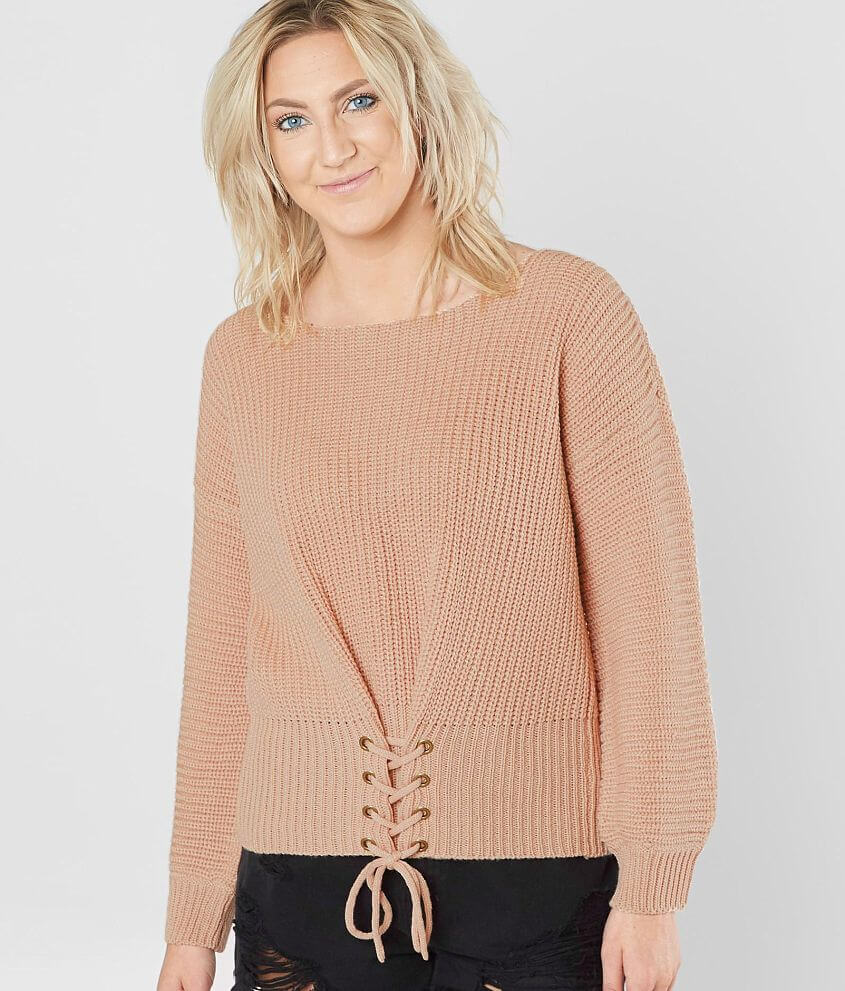 58db091b09e607 Daytrip Corset Lace-Up Sweater - Women's Sweaters in Blush   Buckle