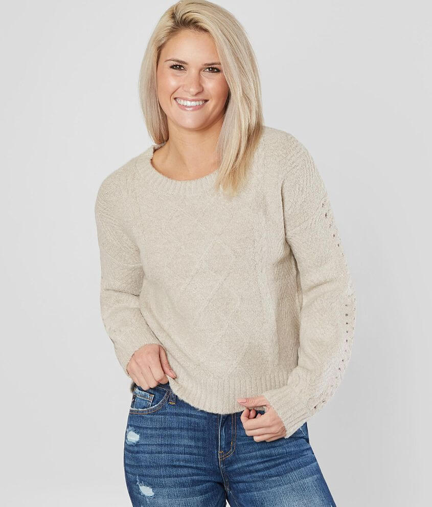 Shop more: Super Soft Raw edge sweater Bust measures 38\\\