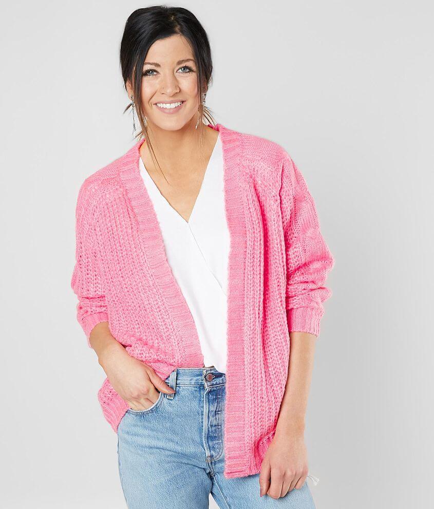 Style 820795/Sku 603052 Open weave flyaway cardigan sweater Body length 26 1/2\\\