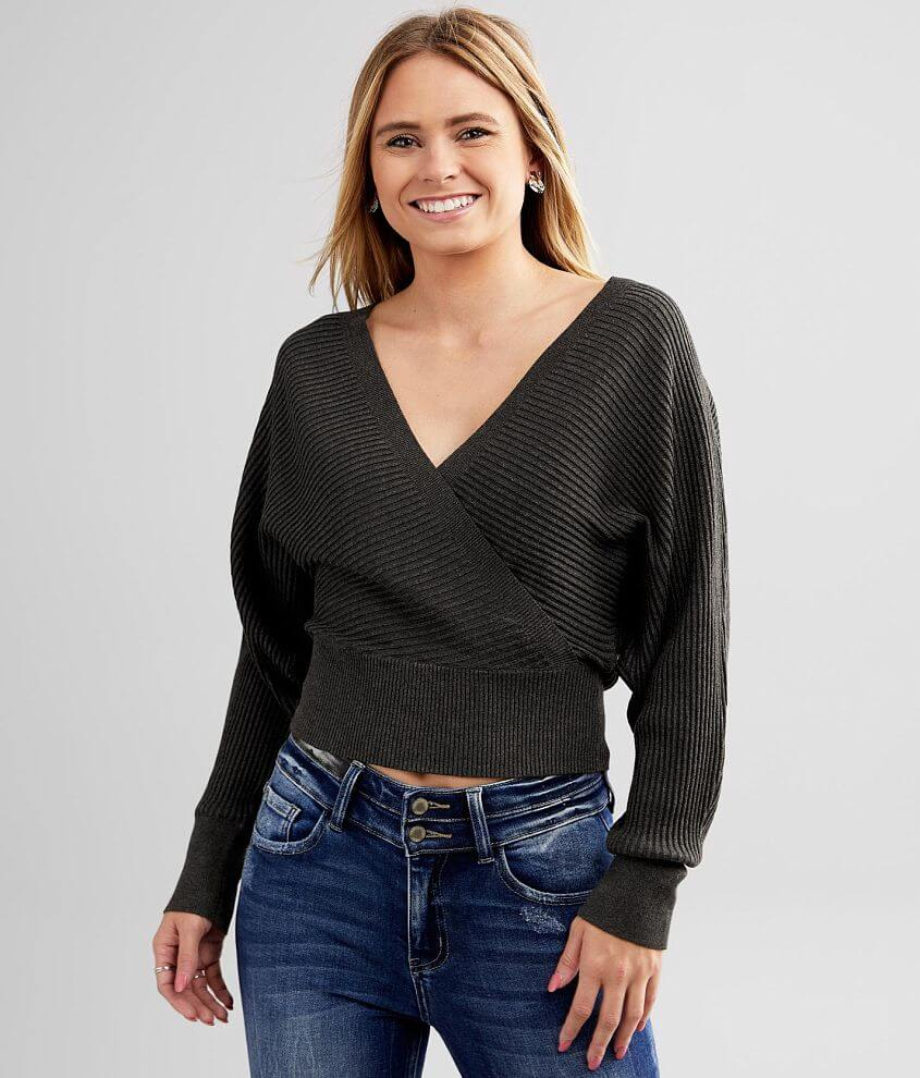 red by BKE Ribbed Surplice Dolman Sweater front view