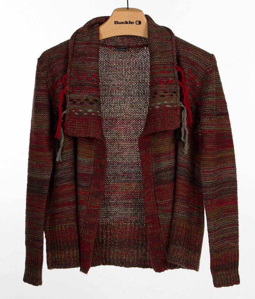 Daytrip Fringe Cardigan Sweater front view